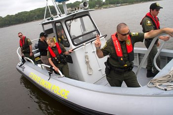 EnCon Police dock boat during a training exercise on the Connecticut River.