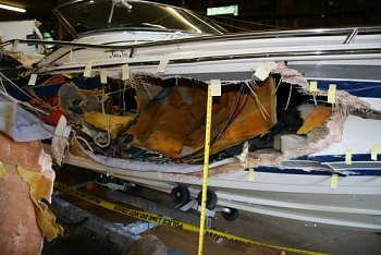 Speedboat involved in 2008 fatal accident on Candlewood Lake.