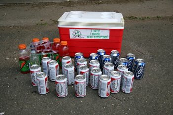 The cooler, beer and Gatorade recovered by investigators.
