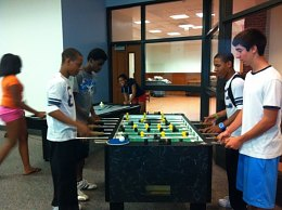 And later..serious game of foosball.