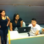 Ana, Zanira and Alex present their on the last day of camp at Quinnipiac.