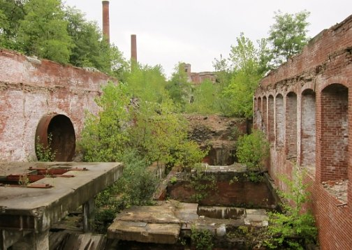 The former Baltic Mills complex in Sprague, now a brownfield site.