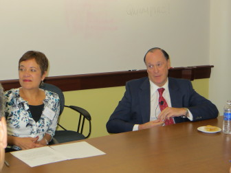 Frances G. Padilla, president of the Universal Health Care Foundation and author Steven Brill.