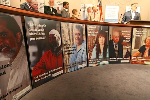 Posters by Compassion & Choices displayed in the Legislative Office Building.