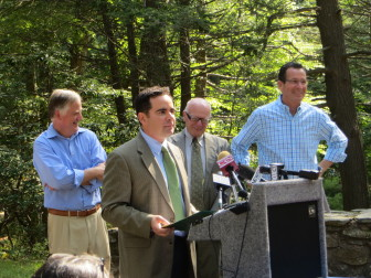 Gov. Malloy (far right) with state officials at Sleeping Giant State Park, Hamden.