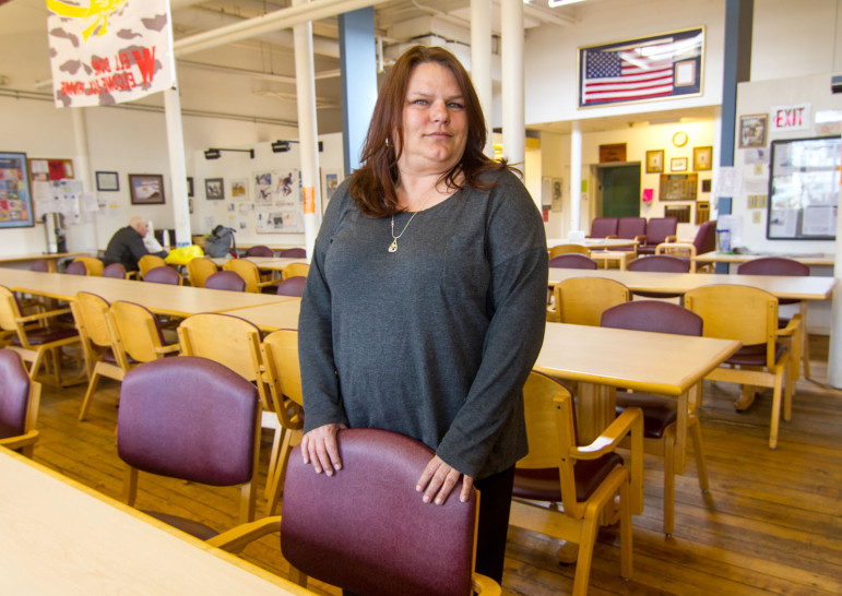 Cheryl Eberg helps veterans connect with services at the VA's Errera Community Care Center, West Haven.