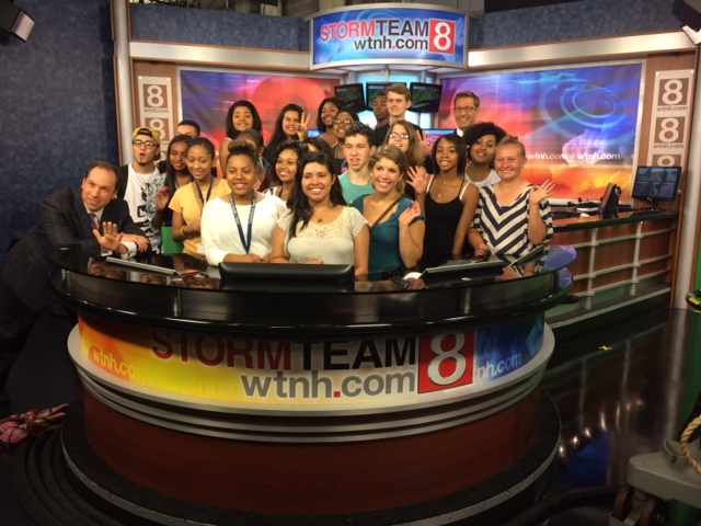 C-HIT student campers visit WTNH-TV in New Haven.
