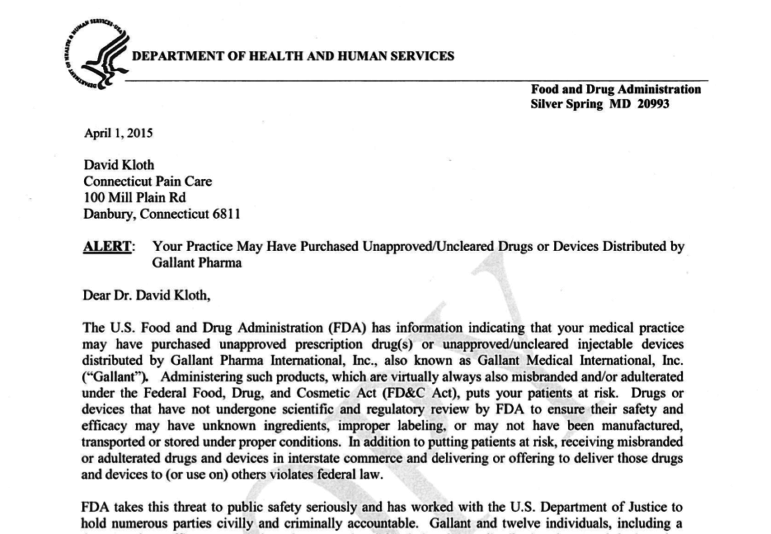 FDA letter sent to doctors.