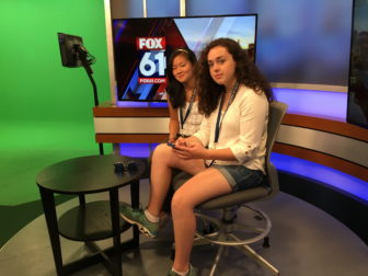 Caeli Rice, at right, with Fuka Reale during tour of Fox 61 in Hartford.
