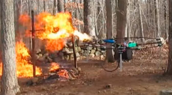 Drones with flamethrowers like this one built by Austin Haughwout would be banned in CT.